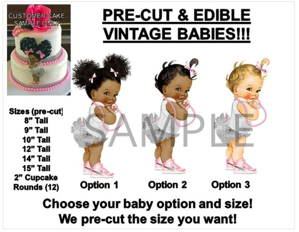 PRE-CUT Pink and Silver Vintage Baby Girl EDIBLE Cake Topper Image Afro Puffs Cake