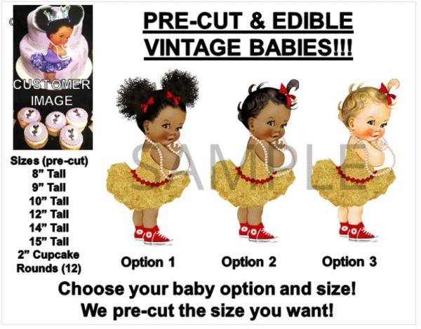 PRE-CUT Gold Red Accents Vintage Baby Girl EDIBLE Cake Topper Image Afro Puffs
