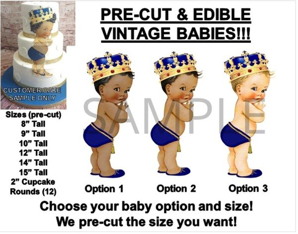 PRE-CUT Royal Blue and Gold Little Prince EDIBLE Cake Topper Image Prince Baby