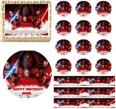 Star Wars The Last Jedi Edible Cake Topper Image Cupcakes Strips Sugar Picture