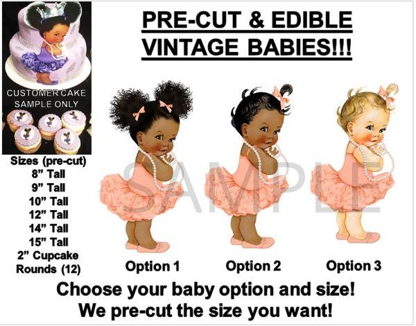 PRE-CUT Peach Ballerina TuTu Baby Girl EDIBLE Cake Topper Image Afro Puffs Baby Cake