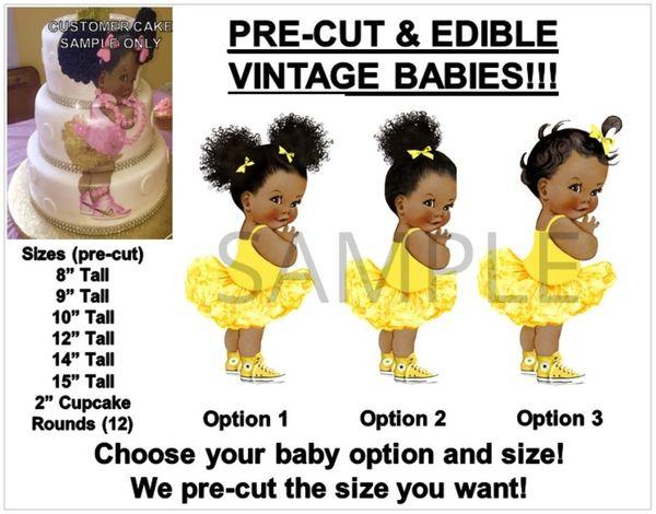 Pre-Cut Yellow Sneakers Princess Ballerina Afro Puffs Baby EDIBLE Cake Topper Image Ruffle Pants