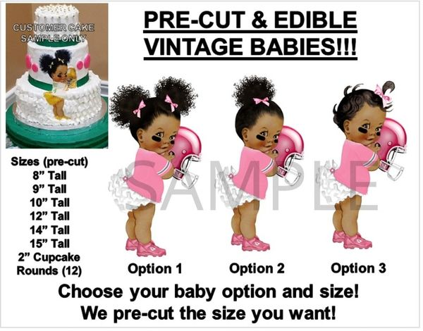 Pre-Cut Pink and White Ruffle Pants Football Afro Puffs Baby EDIBLE Cake Topper Image Football Baby