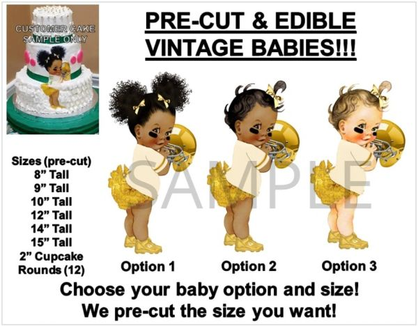 Pre-Cut Ivory and Gold Ruffle Pants Football Afro Puffs Baby EDIBLE Cake Topper Image Football Baby