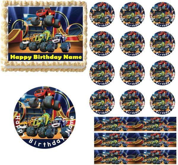 Blaze and the Monster Machines Trucks Edible Cake Topper Image Cupcakes Blaze