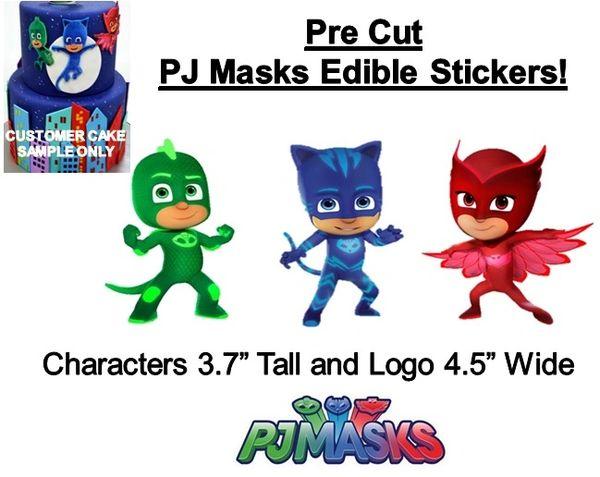 Pre Cut PJ Masks Characters EDIBLE Cake Stickers PJ Masks Cake Edible Stickers