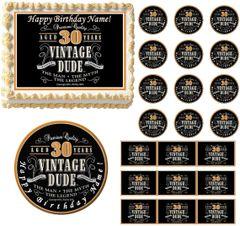 VINTAGE DUDE 30 Edible Cake Topper Image Frosting Sheet