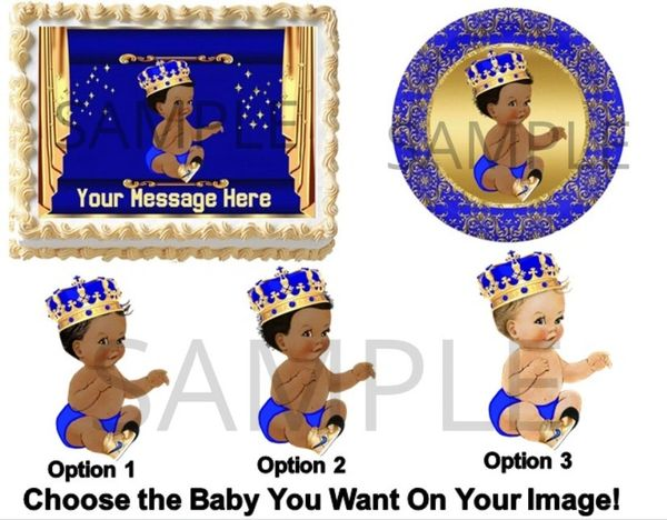 Royal Blue and Gold Little Prince Sneakers EDIBLE Cake Topper Image Cupcakes