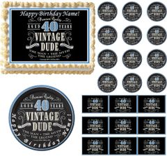 VINTAGE DUDE 40 Edible Cake Topper Image Frosting Sheet