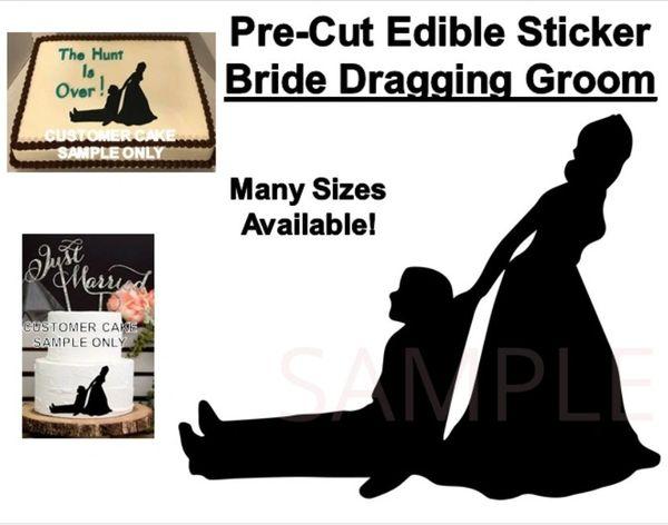 Pre-Cut Bride Dragging Groom Silhouette Edible Cake Topper Sticker Decal Wedding Cake