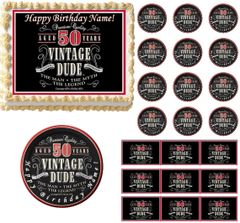 VINTAGE DUDE 50 Edible Cake Topper Image Frosting Sheet
