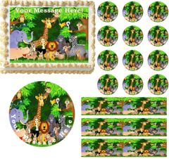 JUNGLE SAFARI ANIMALS Edible Cake Topper Image Frosting Sheet