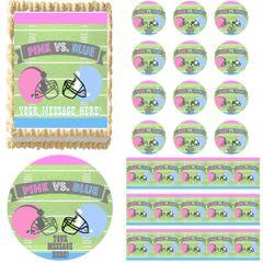 FOOTBALL GENDER REVEAL BABY SHOWER Edible Cake Topper Image Frosting Sheet