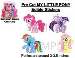 Pre-Cut My Little Pony EDIBLE Cake Stickers Decals Cake Decorations Edibles