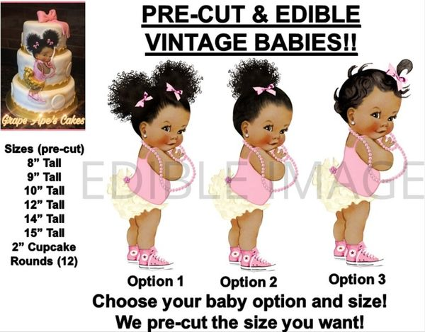 PRE-CUT Pink and Ivory Ruffle Pants Baby Girl EDIBLE Cake Topper Image Cupcakes