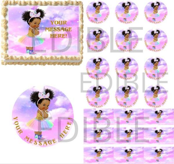 Rainbow Pastel Unicorn Afro Puffs Baby Sneakers EDIBLE Cake Topper Image Cupcake