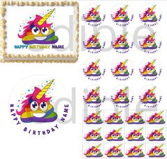 Unicorn Rainbow Poop Emoji Edible Cake Topper Image Cupcakes Unicorn Poop Cake