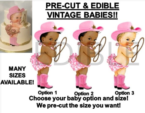 PRE-CUT Little Cowgirl Baby Pink Hat Boot Baby EDIBLE Cake Topper Image Cupcakes