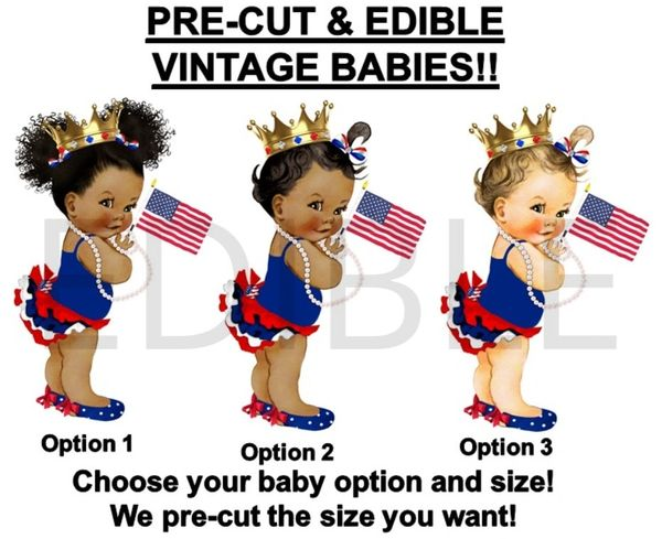 PRE-CUT Princess Ruffle Pants Baby Flag EDIBLE Cake Topper Image Cupcakes