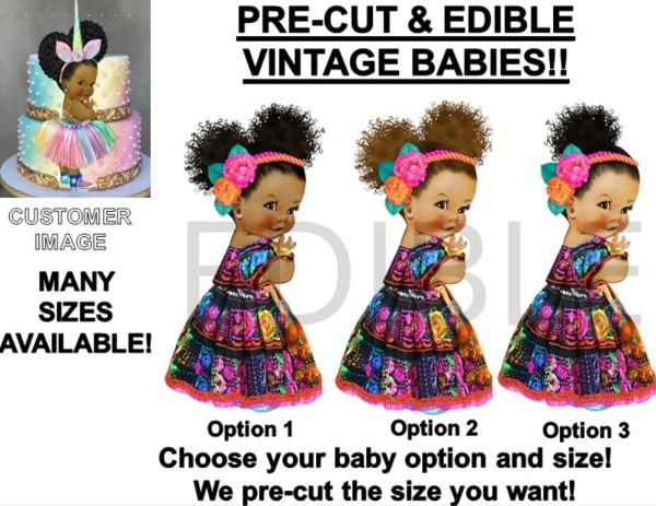 PRE-CUT Mexican Embroidered Dress Baby Girl EDIBLE Cake Topper Image Cupcakes