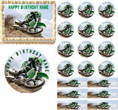 Green Motocross Dirt Bike Racing Edible Cake Topper Image Cupcakes Party Image