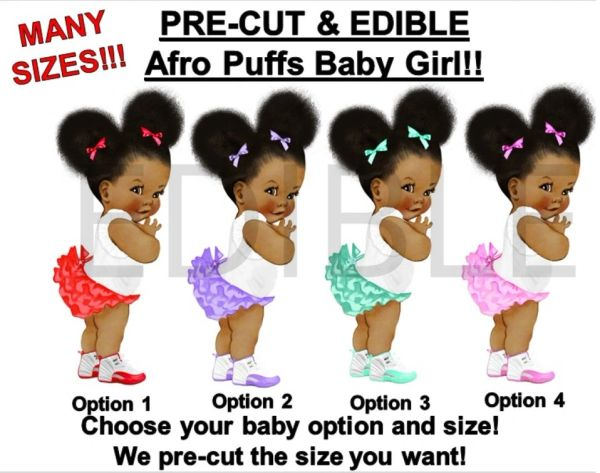 PRE-CUT Ruffle Pants Natural Hair Afro Puffs Girl EDIBLE Cake Topper Image