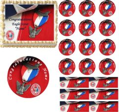 Eagle Scout Award on Flag EDIBLE Cake Topper Image Court of Honor Cake Cupcakes