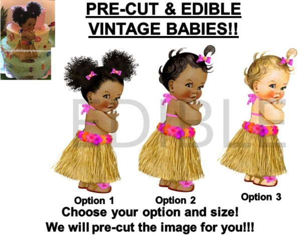 PRE-CUT Hot Pink Orange Hawaiian Luau Grass Skirt Baby Girl EDIBLE Cake Topper Image