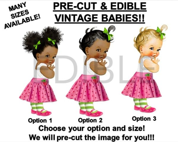 PRE-CUT Strawberry Pink Skirt Baby Girl EDIBLE Cake Topper Image Cupcakes Baby