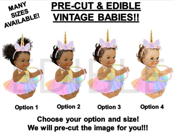 PRE-CUT Rainbow Unicorn Sitting Princess Baby EDIBLE Cake Topper Image Cupcakes