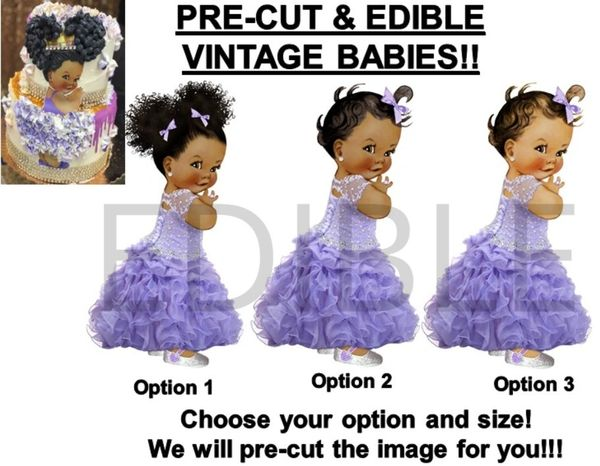 PRE-CUT Lavender Quinceañera Dress Baby Girl EDIBLE Cake Topper Image Cupcakes