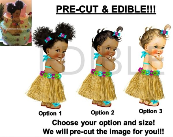 PRE-CUT Turquoise Hawaiian Luau Grass Skirt Baby Girl EDIBLE Cake Topper Image Cupcakes