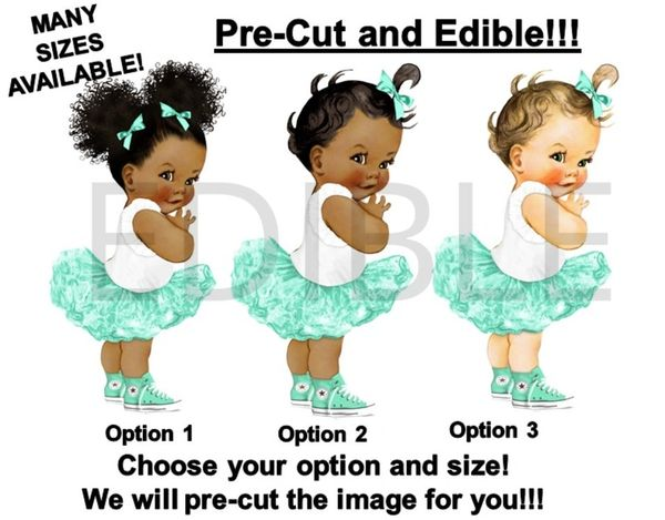 PRE-CUT Mint Green and White Ballerina Baby EDIBLE Cake Topper Image Cupcakes