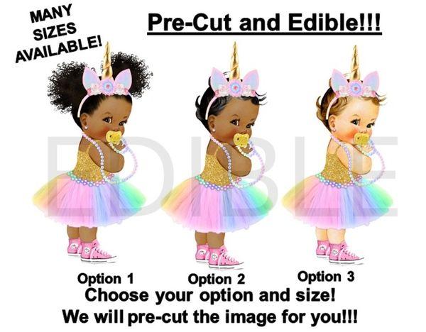 Pre Cut Rainbow Unicorn Tutu Sneakers Princess Girl Pacifier EDIBLE Cake Image Cupcakes