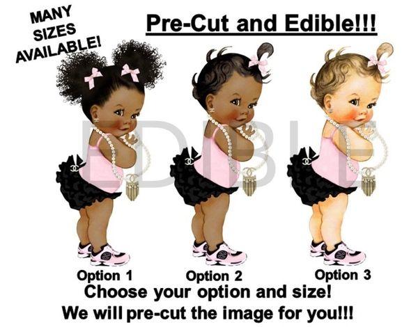 PRE-CUT Pink Black Ruffles Chanel Baby Girl EDIBLE Cake Topper Image