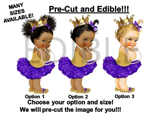 PRE-CUT Purple Gold Princess Ballerina Baby Girl EDIBLE Cake Topper Image