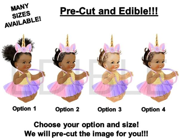 PRE-CUT Lavender Pink Gold Unicorn Sitting Princess Baby EDIBLE Cake Topper Image Cupcakes