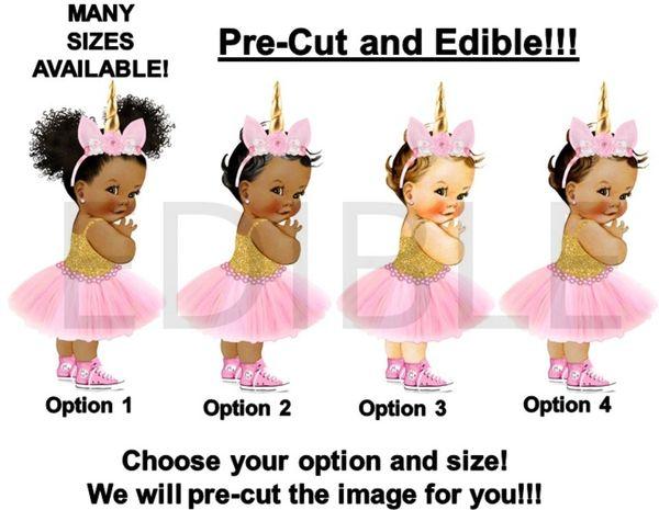 PRE-CUT Pink and Gold Unicorn Princess Sneakers EDIBLE Cake Topper Image Cupcake