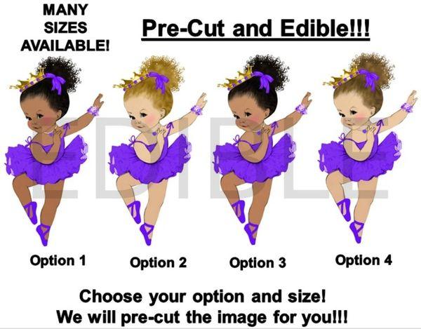 PRE-CUT Purple Tutu Dancing Ballerina Baby Girl EDIBLE Cake Topper Image Cupcakes