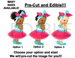 PRE-CUT Hot Pink Turquoise Tulle Party Dress Baby Girl EDIBLE Cake Topper Image Cupcakes