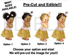 PRE-CUT Tropical Light Pink Hawaiian Luau Grass Skirt Baby EDIBLE Cake Topper Image Cupcakes