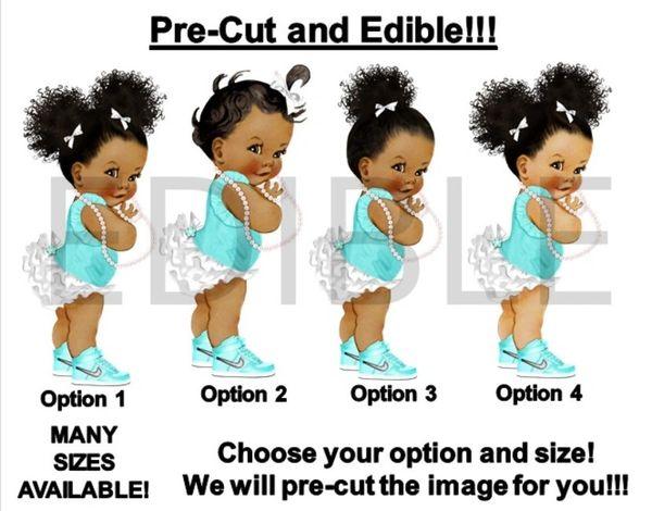 PRE-CUT Turquoise White Ruffle Pants Princess Baby EDIBLE Cake Topper Image Cupcakes
