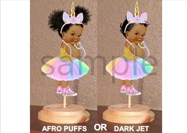 PRE CUT Pastel Rainbow Unicorn Princess Pink Sneakers Centerpiece with Wood Stand OR Card Stock Cut Out
