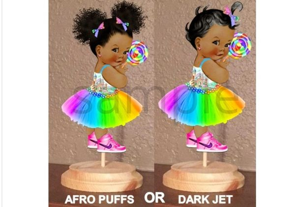 PRE CUT Rainbow Party Dress Candy Girl Baby Centerpiece with Wood Stand OR Card Stock Cut Out