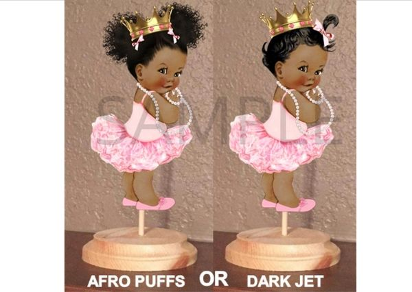 PRE CUT Light Pink Gold Princess Ballerina Tutu Baby Centerpiece with Wood Stand OR Card Stock Cut Out