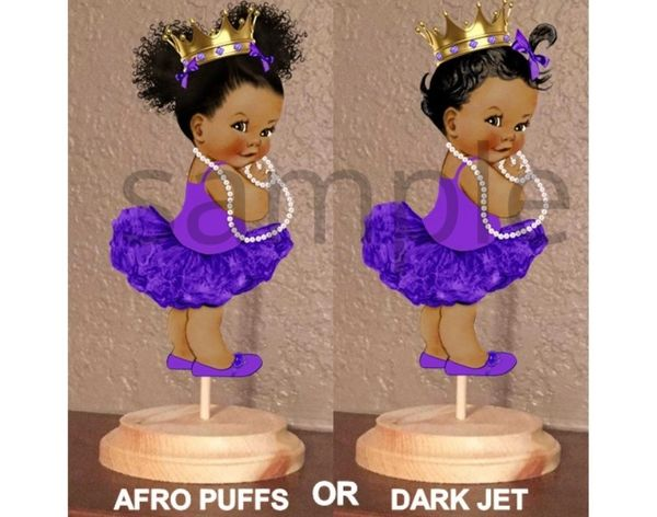 PRE CUT Purple and Gold Princess Ballerina Tutu Baby Centerpiece with Wood Stand OR Card Stock Cut Out