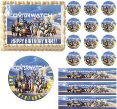 Overwatch Gaming Party Edible Cake Topper Image Frosting Sheet Cake Decoration
