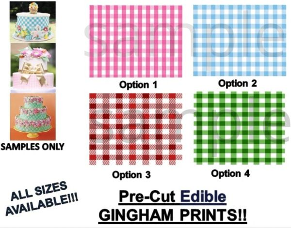Gingham Checkered Pattern EDIBLE Cake Topper Image Cupcakes Frosting Sheet
