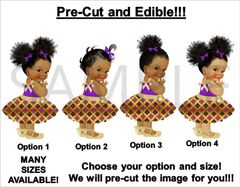 PRE-CUT Purple and Gold Kente Print Dress African Princess EDIBLE Cake Topper Image Cupcakes