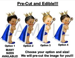 PRE-CUT Royal Blue and Gold Fur Cape Little Royal Prince EDIBLE Cake Topper Image Cupcakes